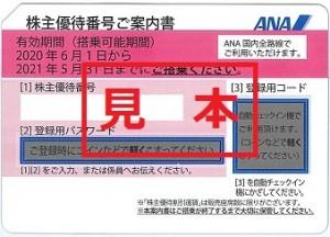 ANA株主優待券 (有効期限:2021年5月末⇒2021年11月末迄期限延長)