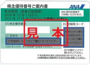 ANA株主優待券 (有効期限:2021年11月末⇒2022年5月末迄期限延長)